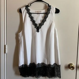 Michael Kors Sleeveless Top with Black Lace